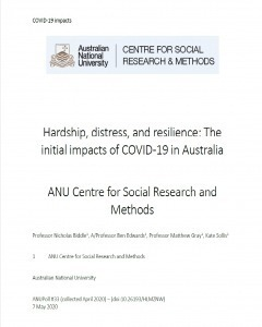 Hardship, distress, and resilience: The initial impacts of COVID-19 in Australia