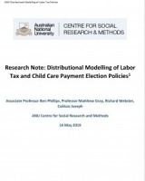 Research Note: Distributional Modelling of Labor Tax and Child Care Payment Election Policies